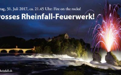 «Fire on the rocks!» - Grosses Rheinfall-Feuerwerk